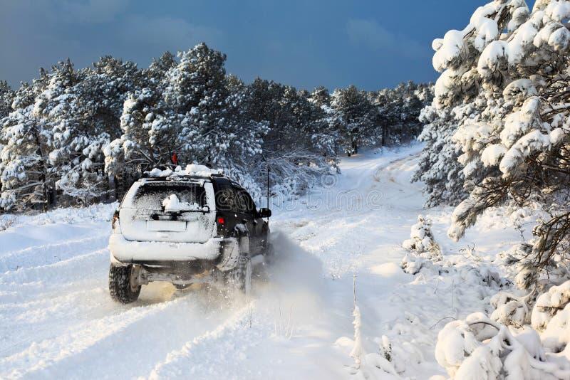 Suv sur la neige photographie stock libre de droits