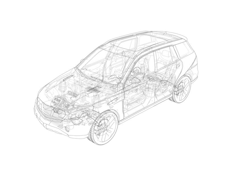 Suv technical drawing with all main internal parts. stock illustration
