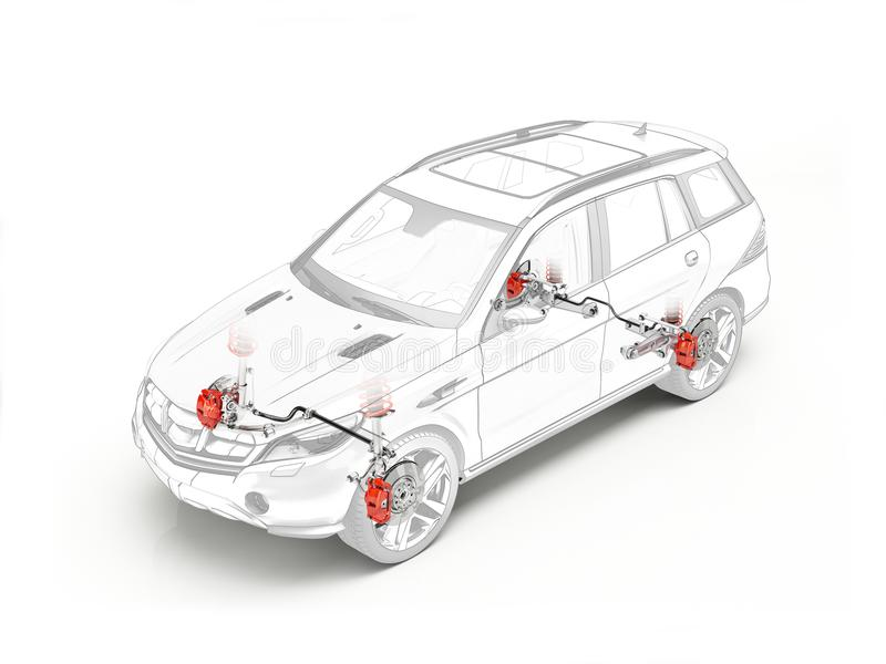 Suv technical drawing showing brakes system. Suv technical drawing showing realistic brakes system in ghost effect on white background vector illustration