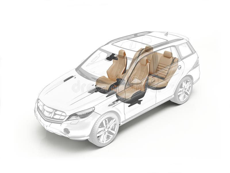 Suv technical drawing showing seats. Suv technical drawing showing realistic seats in ghost effect. On white bacground vector illustration