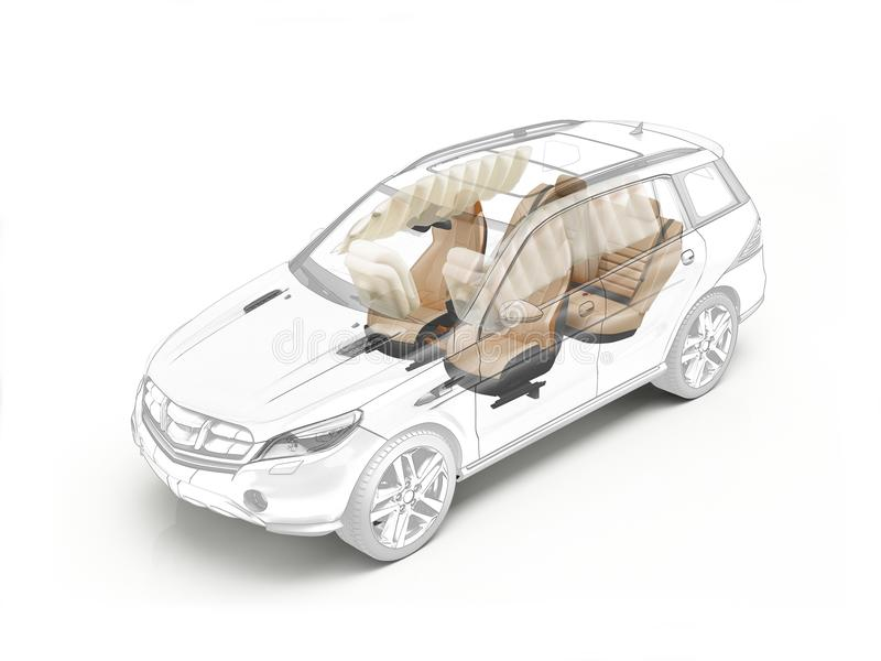 Suv technical drawing showing seats and airbags. Suv technical drawing showing seats and airbags in ghost effect. On white bacground stock illustration