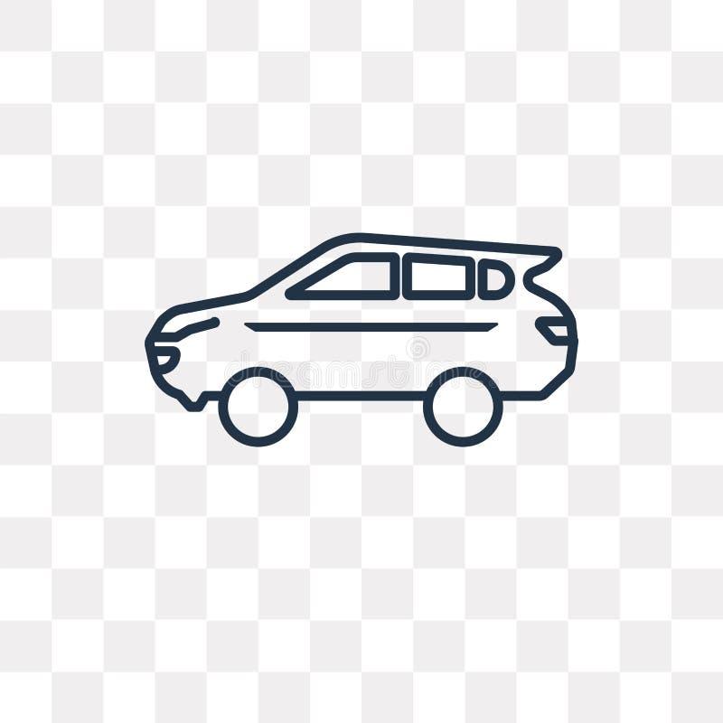 SUV wektorowa ikona odizolowywająca na przejrzystym tle, liniowy SUV t ilustracja wektor