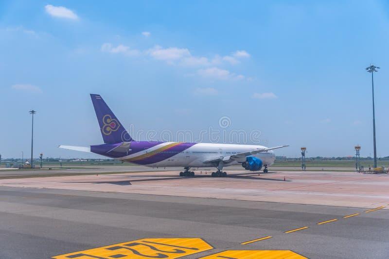 Thai Airway Aircraft Parked at Suvarnabhumi Airport. Suvarnabhumi Airport,Samutprakan,Thailand-June,19,2019: Thai Airway Aircraft Parked at Suvarnabhumi Airport stock photography