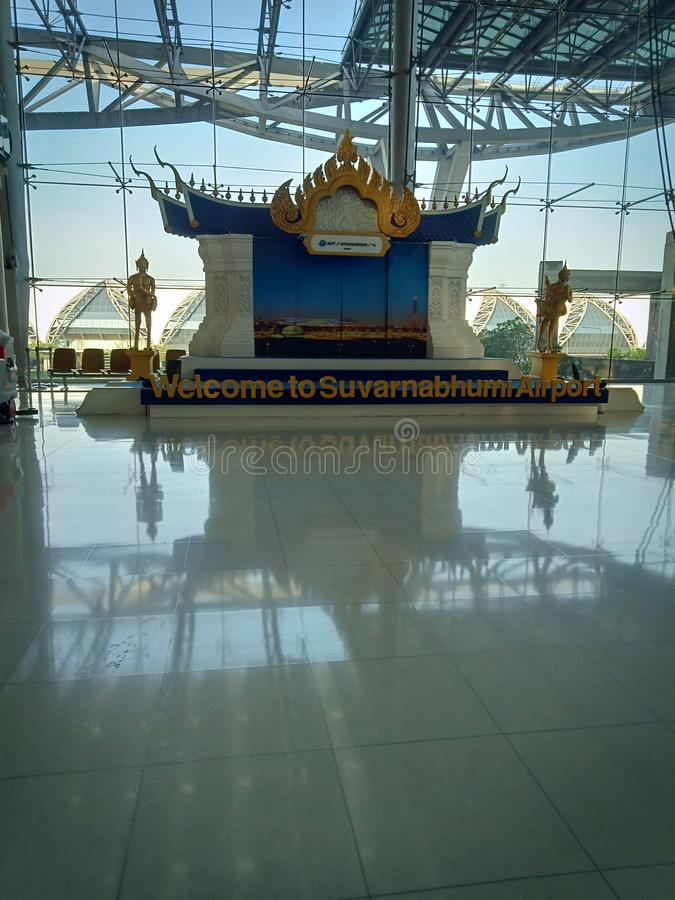 Suvarnabhumi lotnisko, Bangkok, Tajlandia powitanie obrazy stock
