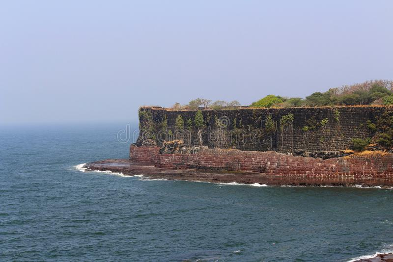 Suvarndurg fort, back view of bastion and Arabic sea, Fateghad, Kokan. Maharashtra. Suvarndurg fort, Back bastion and Arabic sea, Fateghad, Kokan. Suvarnadurg or stock photos