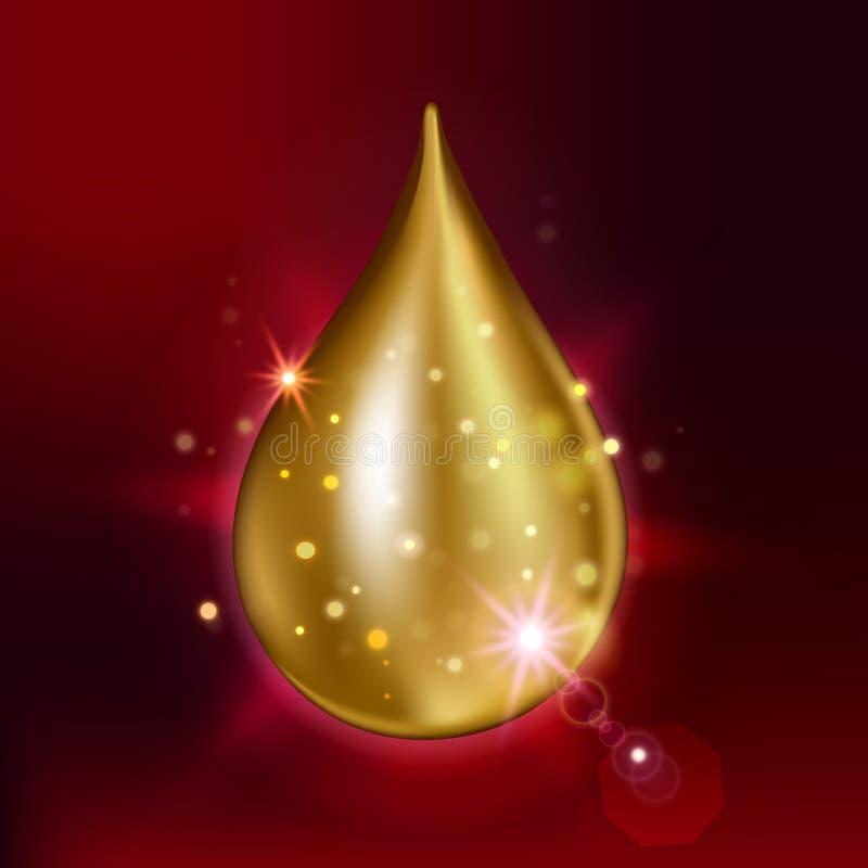 Suverän extrakt för collagenoljadroppe Högvärdig glänsande serumliten droppe också vektor för coreldrawillustration stock illustrationer