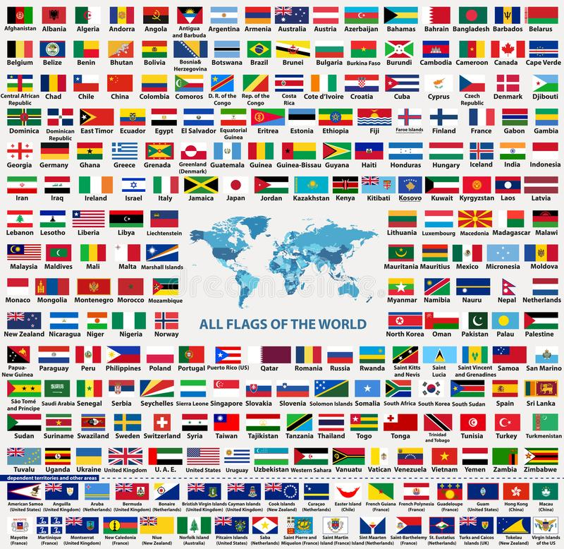 suveräna stater för flaggor för länder för värld för vektoruppsättning allra, anhörig, utländska territorier och andra områden, - vektor illustrationer