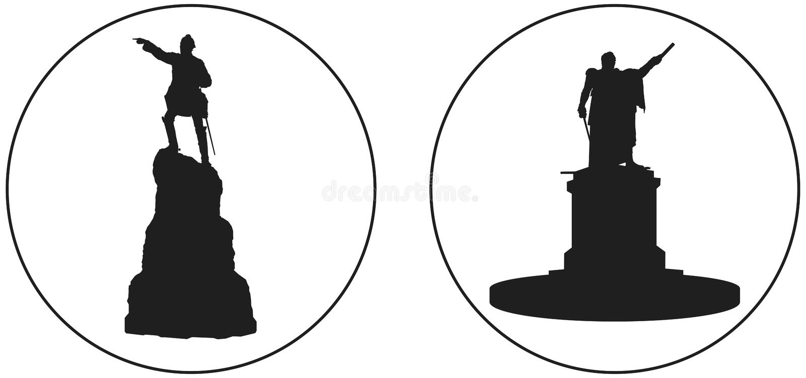 Suvorov and Kutuzov Russian military leader monuments vector icon royalty free stock image