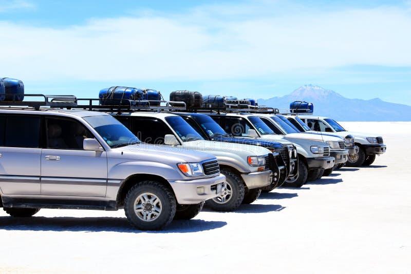 SUVs in una riga immagine stock