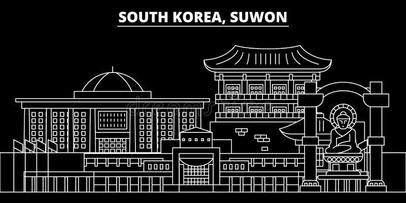 Suwon-Schattenbildskyline Südkorea- - Suwon-Vektorstadt, koreanische lineare Architektur Suwon-Linie Reiseillustration vektor abbildung
