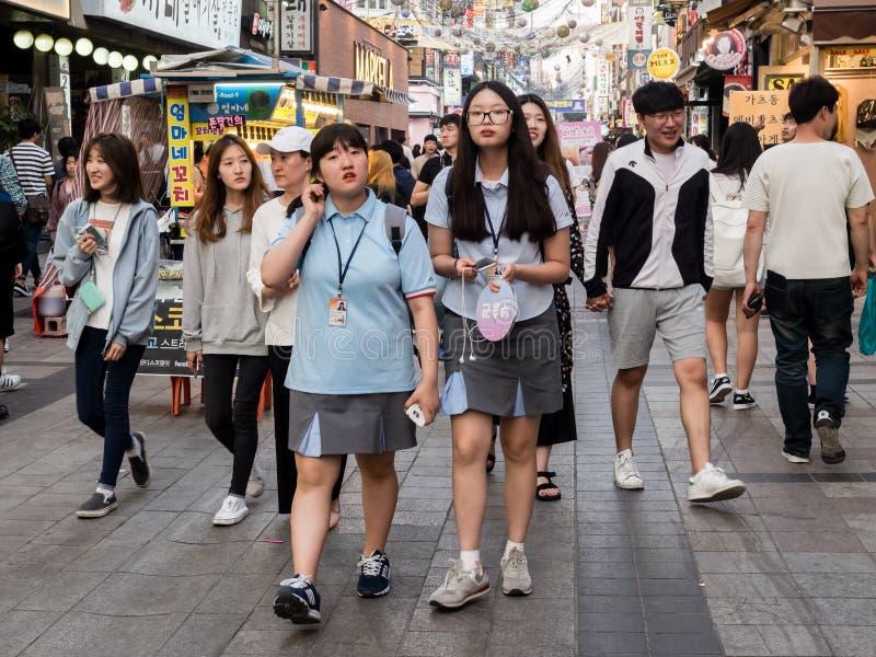 Suwon, South Korea - June 15, 2017: People walking along the main street in Suwon.  royalty free stock photo