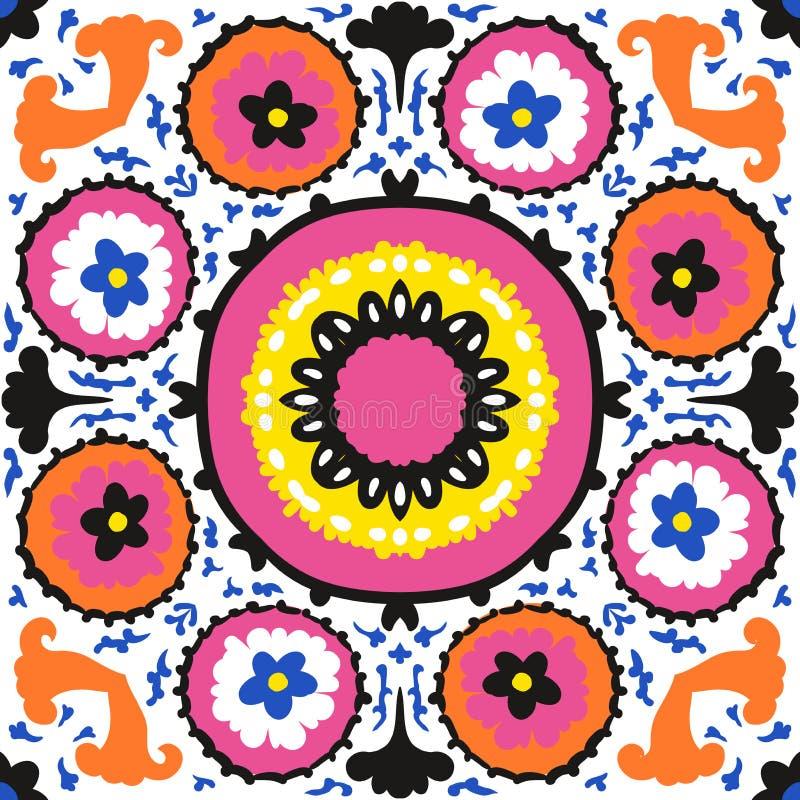 Suzani, этническая картина с смелейшим орнаментом бесплатная иллюстрация