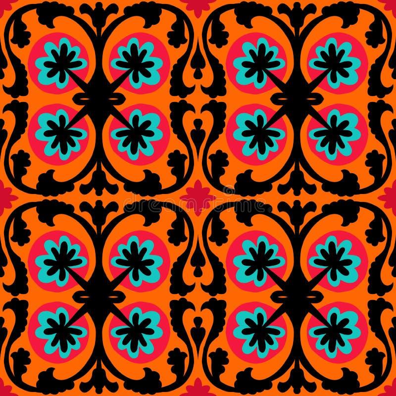 Suzani pattern with Uzbek and Kazakh motifs royalty free illustration