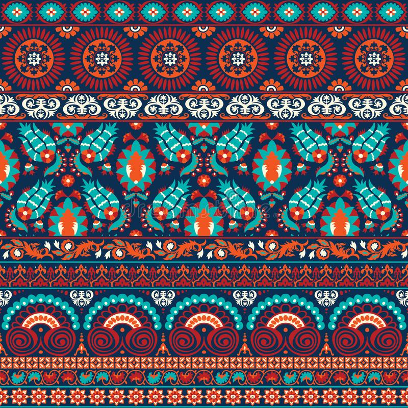 Suzani style antique rug motifs patchwork vector illustration