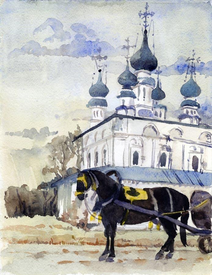 suzdal akwarela royalty ilustracja