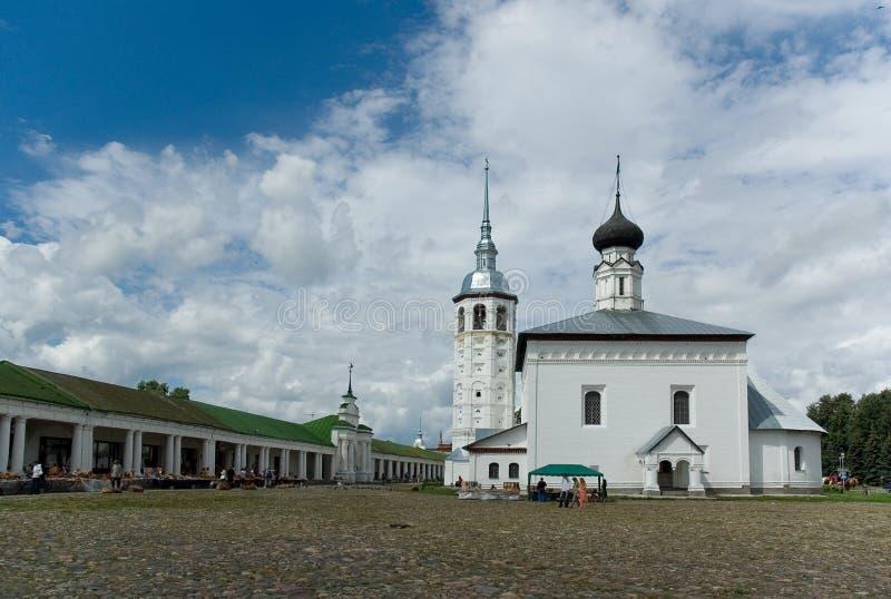 Suzdal. Het vierkant van de Handel. Historisch centrum. stock afbeelding