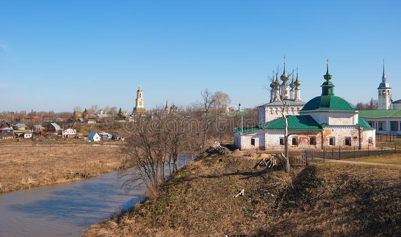 Suzdal landscape with churches stock photo