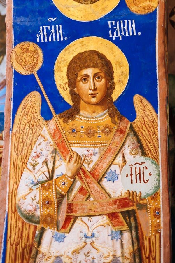 Suzdal, Russie Fresques antiques sur les murs du Transfigura photo stock