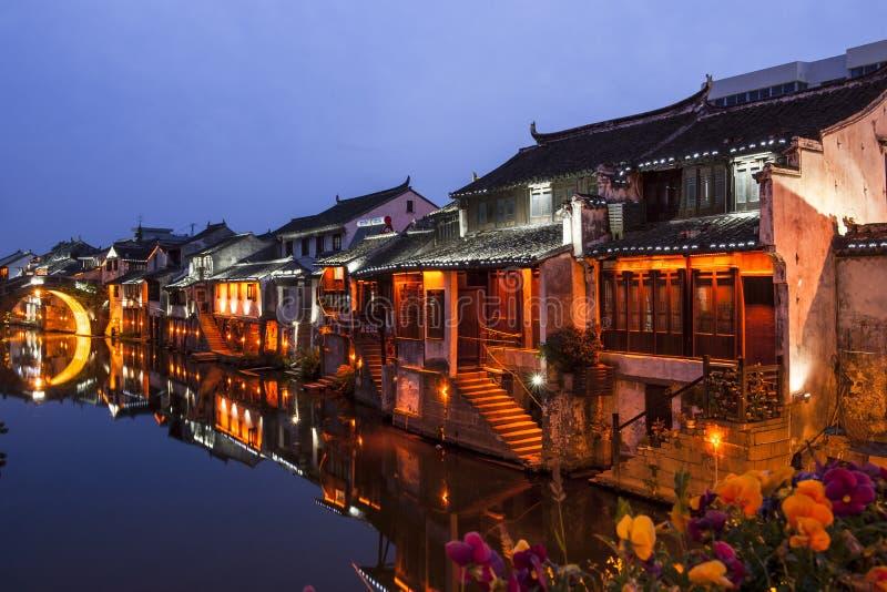 Suzhou alla notte fotografie stock