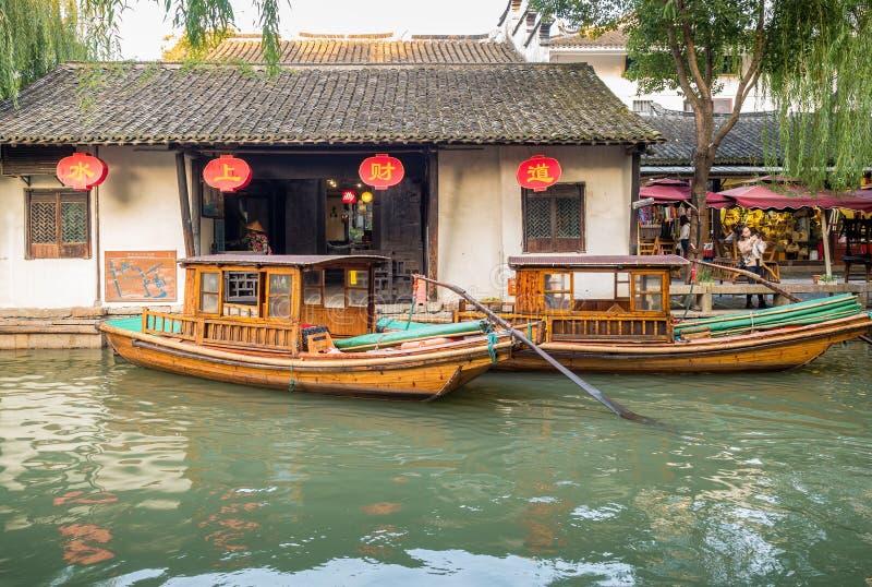 At the Zhouzhuang Water Town, Suzhou, China stock photo