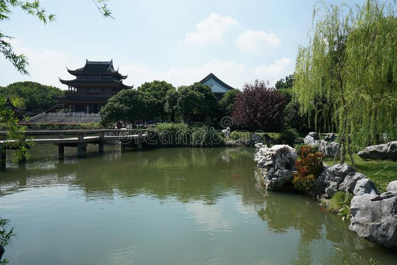 A pond and a garden in Nan Men, Suzhou, China. Suzhou,China-September 17, 2019: A pond and a garden in Nan Men, Suzhou, China royalty free stock images