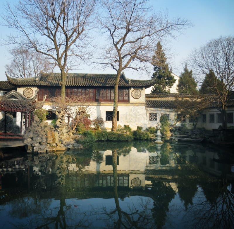 Suzhou garden in winter,lingering garden stock photos