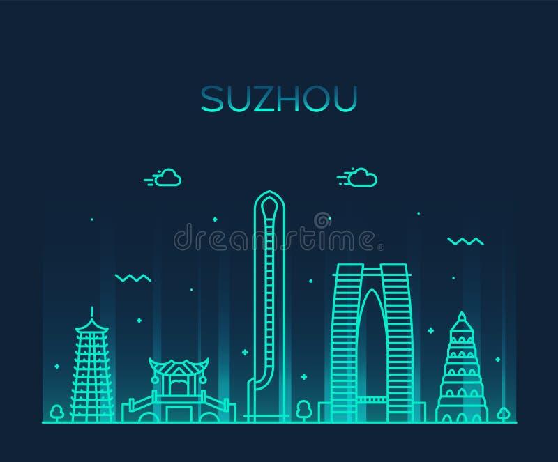 Suzhou linia horyzontu chiny wschodni wektorowy liniowy styl ilustracja wektor