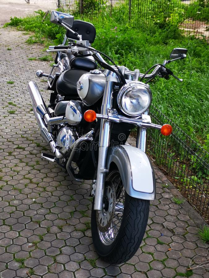 Suzuki Intruder Volusia Motorcycle - front view. Intruder is a family of motorcycles, the cruiser class, of the Japanese manufacturer Suzuki. They were royalty free stock images
