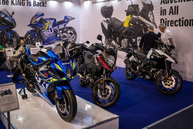Suzuki motocykle na 54th Belgrade międzynarodowym samochodzie i motorowym przedstawieniu obrazy stock