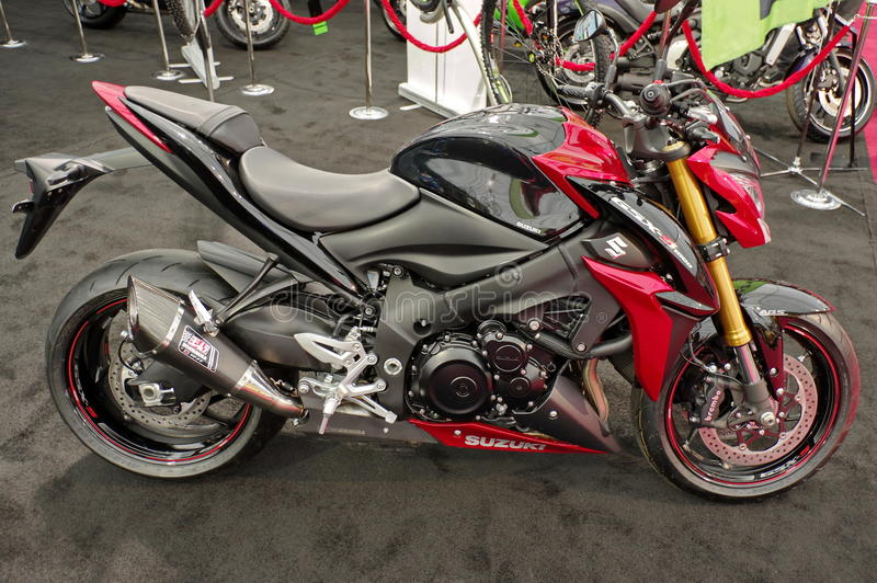 Suzuki motorcycle. At the Auto Moto Exhibition - Bucharest, April 2015 royalty free stock image
