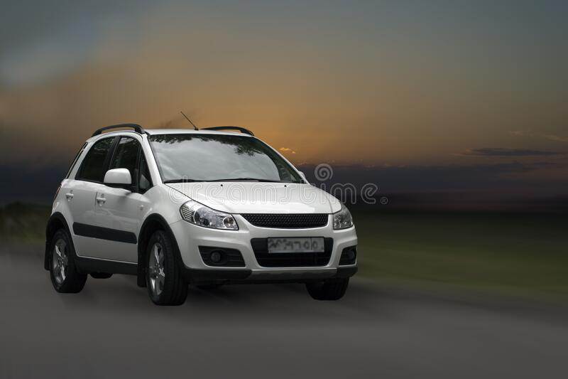 Suzuki white car. royalty free stock photography
