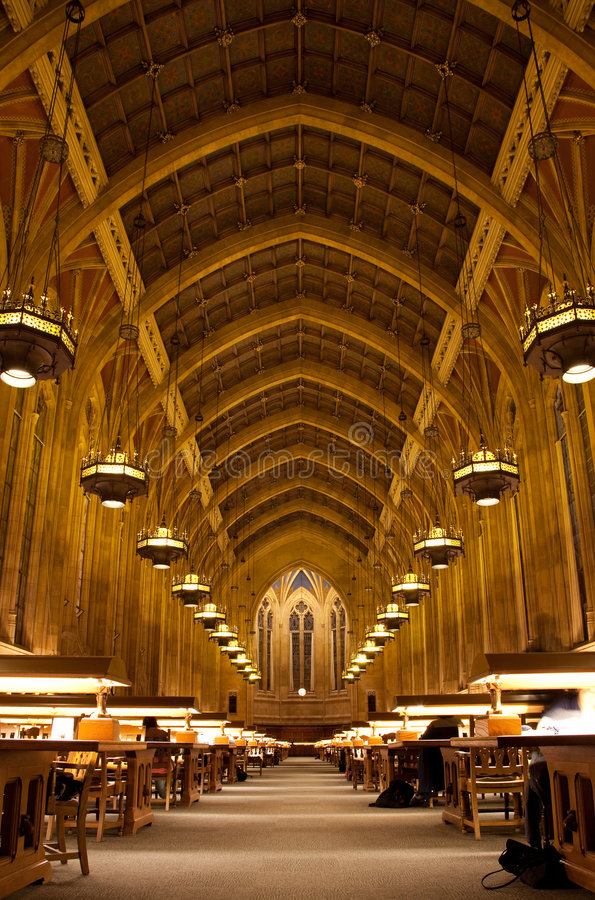 Suzzallo library. Interiors of the huge Suzzallo library at the University of Washington stock photography