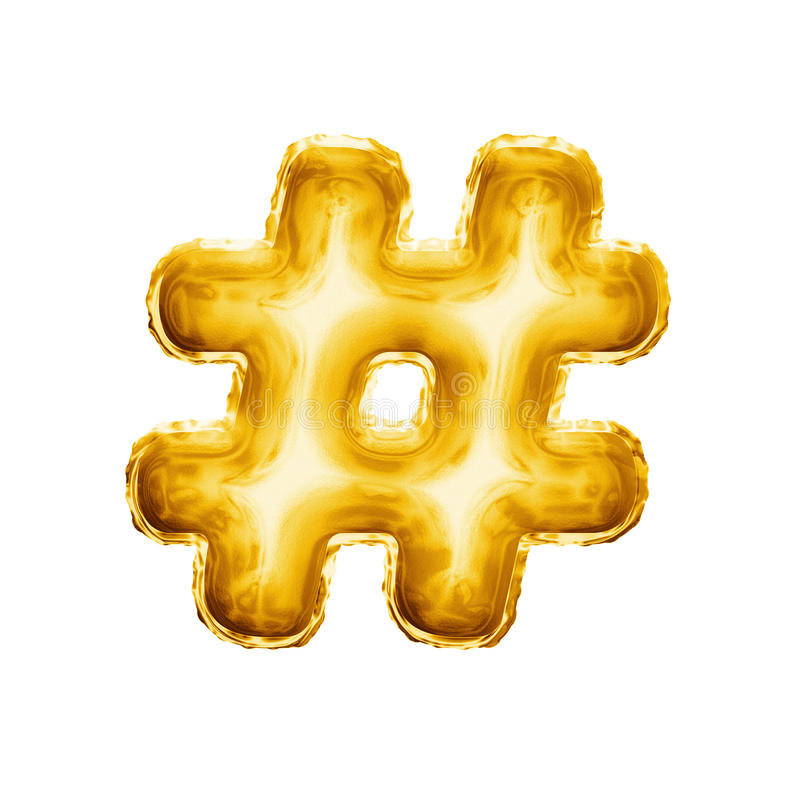 Svälla alfabetet för guld- folie för symbolet 3D för hashtagnummertecknet det realistiska royaltyfri foto