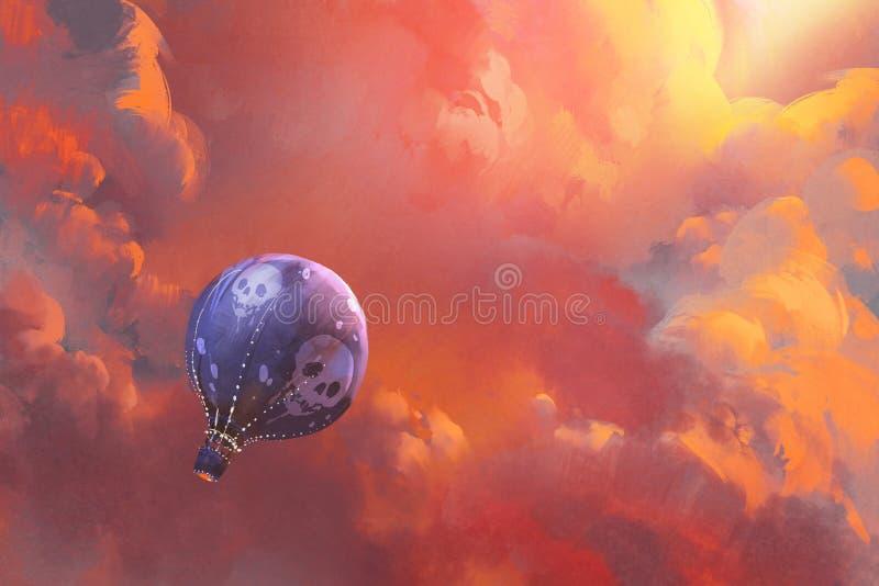 Svälla att sväva i himlen med röda moln vektor illustrationer