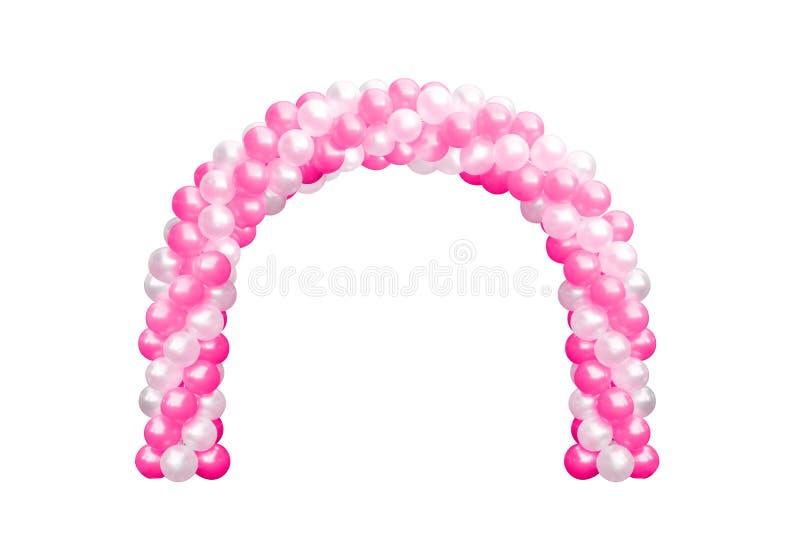 Svälla valvgångdörrrosa färger och vit, bågar som gifta sig, beståndsdelar för garnering för ballongfestivaldesign med ärke- blom arkivfoto