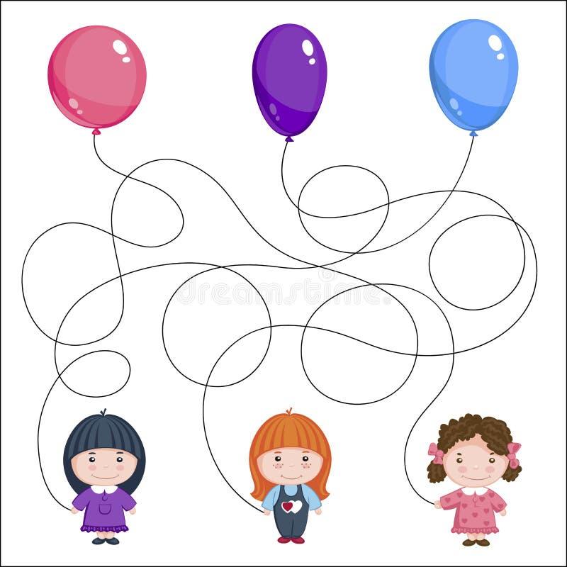 sväller flickor tre Bild för barn` s med en gåta Var är vems boll är? vektor illustrationer