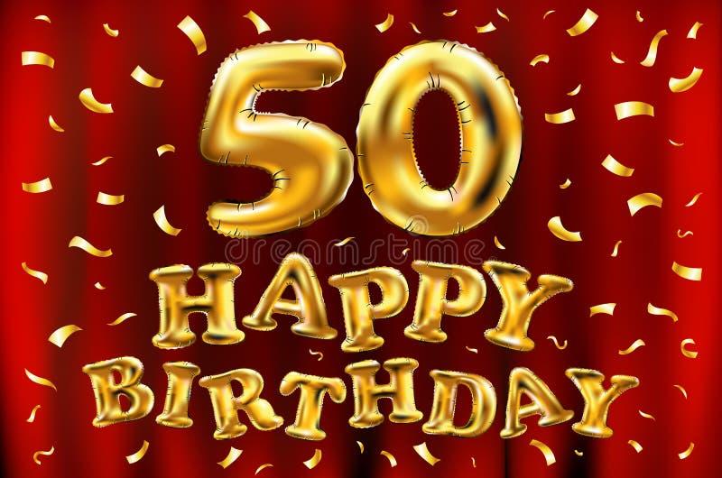Sväller guld för beröm för den lyckliga födelsedagen 50th för vektorn, och guld- konfetti blänker design för illustration 3d för  stock illustrationer