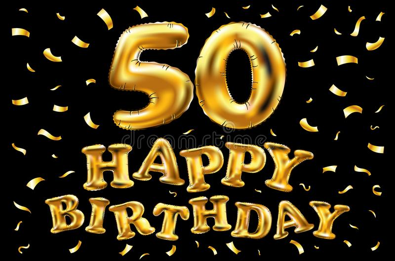 Sväller guld för beröm för den lyckliga födelsedagen 50th för vektorn, och guld- konfetti blänker design för illustration 3d för  royaltyfri illustrationer
