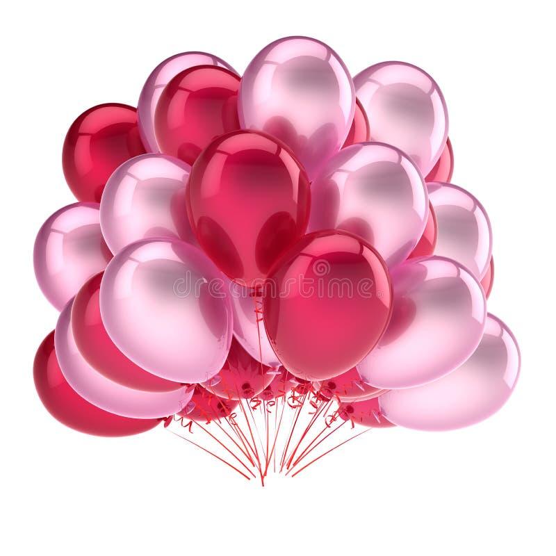 Sväller röd rosa mjukhet garnering för karneval för födelsedagparti stock illustrationer