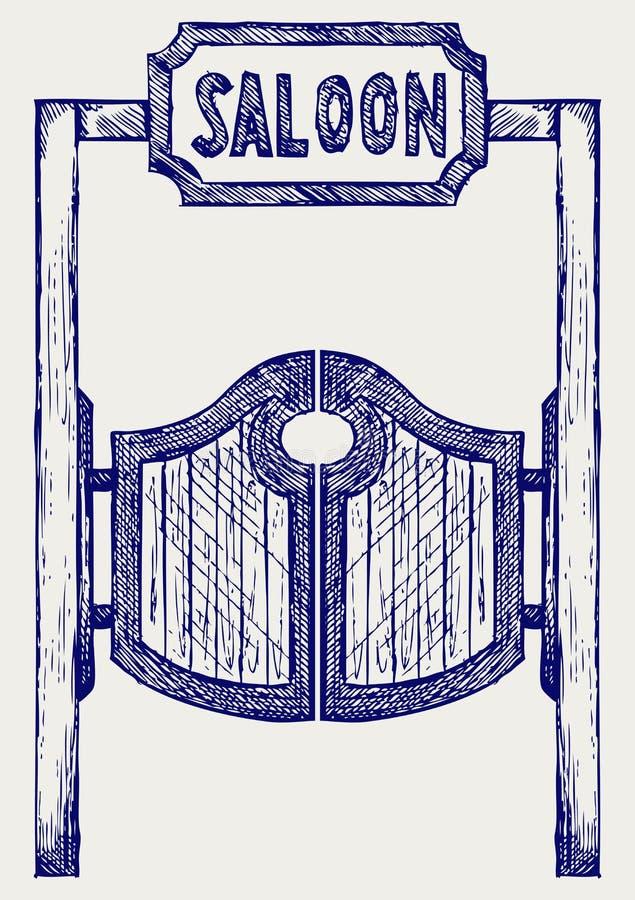 sväng för salong för dörrar västra gammal stock illustrationer