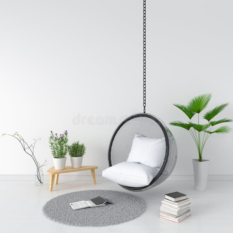 Svänga och kudde i vitt rum, tolkningen 3D arkivbilder