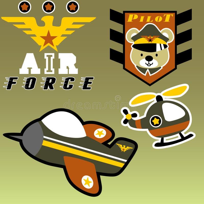 svärd för sköld för holding för kraft för örn för luftflygplanemblem militärt stock illustrationer