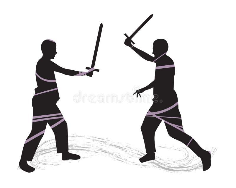svärd för slagsmål för bakgrund 3d vita isolerade bild vektor illustrationer