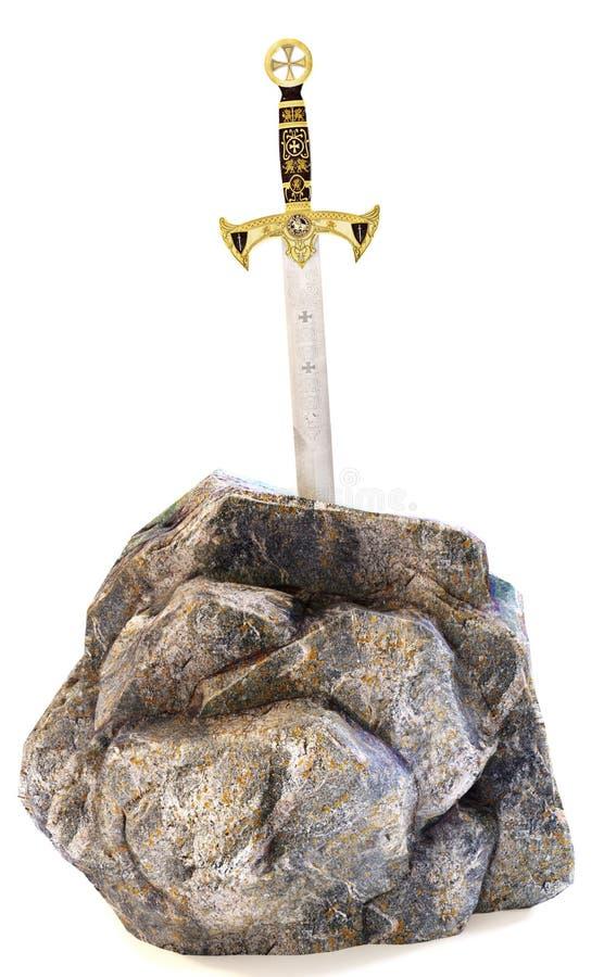 Svärd i sten på en isolerad vit bakgrund Metafor för mål, dedikation eller beslutsamhet vektor illustrationer