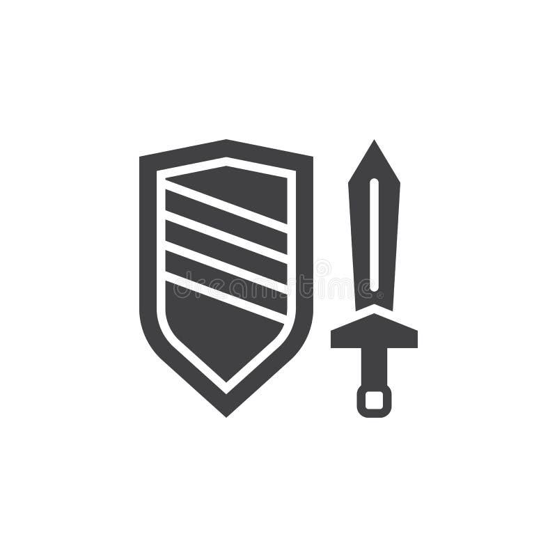 Svärd- och sköldsymbolsvektor, fyllt plant tecken, fast pictogram royaltyfri illustrationer
