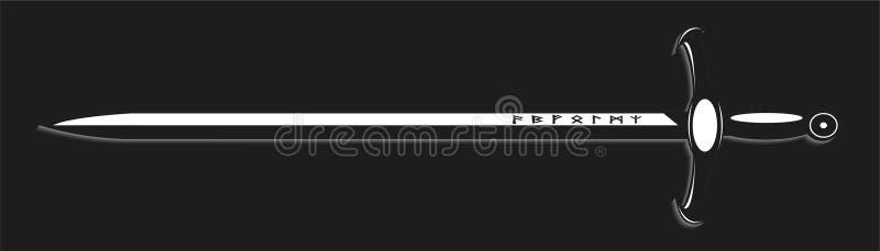 svärd också vektor för coreldrawillustration Svartvit sikt royaltyfri illustrationer