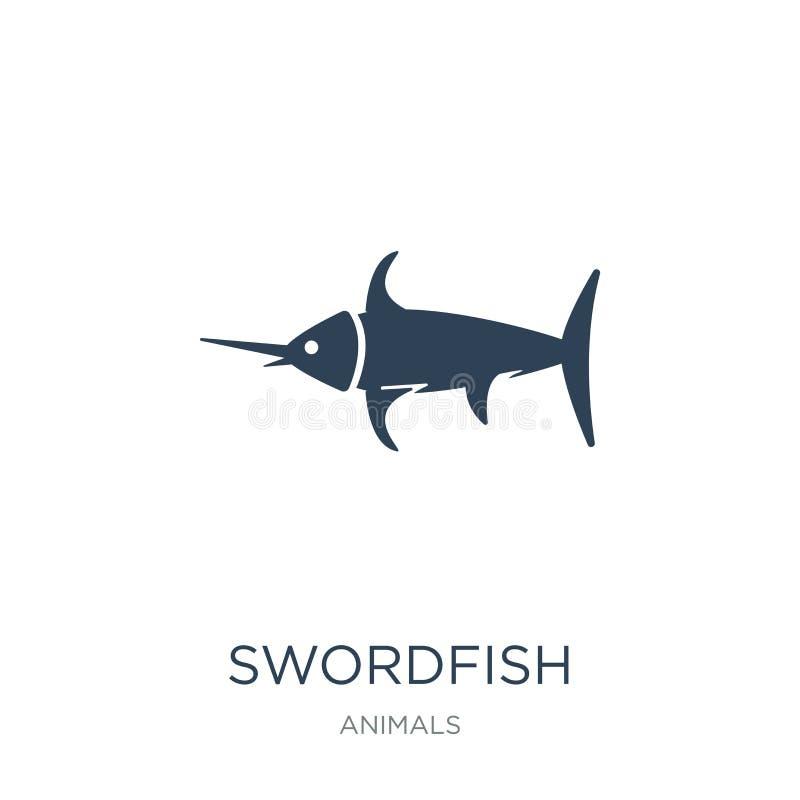 svärdfisksymbol i moderiktig designstil Svärdfisksymbol som isoleras på vit bakgrund enkel och modern lägenhet för svärdfiskvekto stock illustrationer