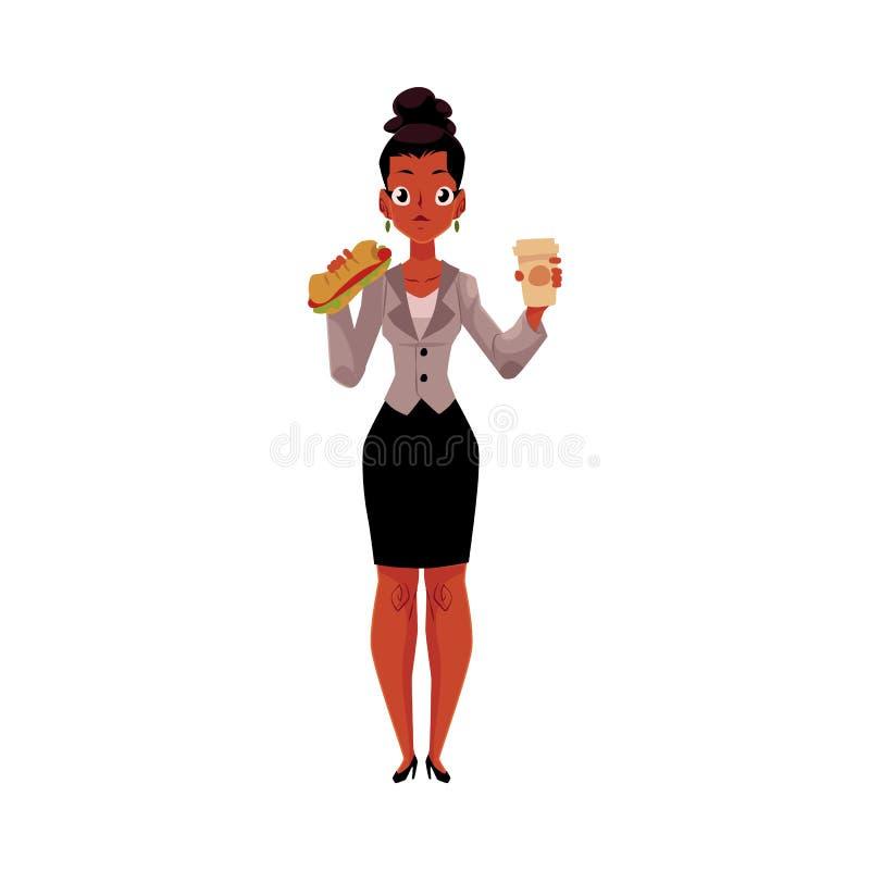 Svärta den afrikanska affärskvinnan som äter smörgåsen för lunch, hållande kaffekopp stock illustrationer