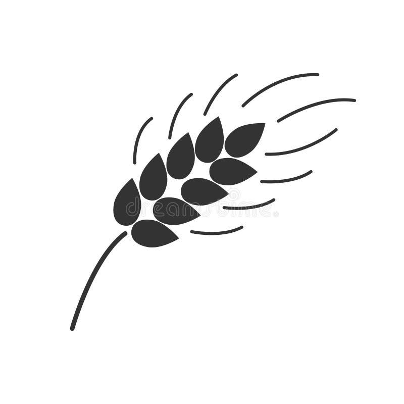 Svärta den isolerade konturn av örat av vete på vit bakgrund Symbol av örat av vete royaltyfri illustrationer