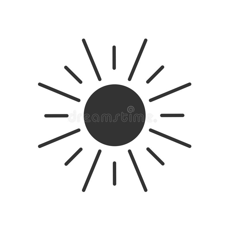 Svärta den isolerade symbolen av solen på vit bakgrund Kontur av solen stock illustrationer